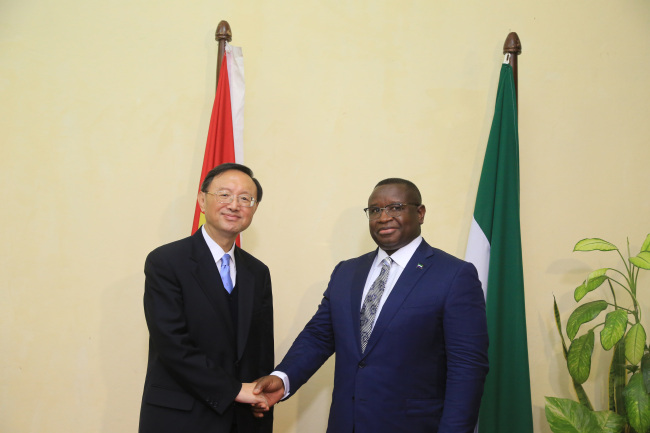 Yang Jiechi, Special Representative of President Xi Jinping, meet with Sierra Leonean President Julius Maada Bio in Freetown on Friday, September 6, 2019. [Photo: China Plus/Gao Junya]