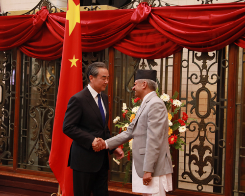 Visiting Chinese State Councilor and Foreign Minister Wang Yi meets with Nepali Foreign Minister Pradeep Kumar Gyawali in Kathmandu, Nepal on Monday, September 9, 2019. [Photo: fmprc.gov.cn]