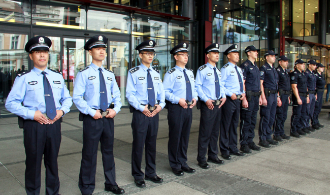 Chinese and Serbian policemen start the first joint patrol in downtown Belgrade on September 18, 2019. [Photo: China Plus/Zhao Hongchao]