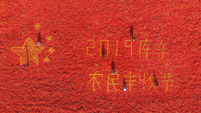 <br>Farmers made a national flag with red peppers and corns in Kuche county, Aksu, northwest China's Xinjiang Uygur Autonomous Region, on Sept 21, 2019. [Photo: VCG]