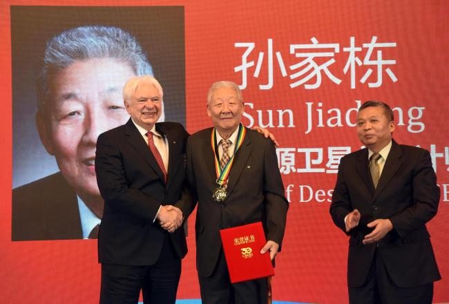 Sun Jiadong, the chief designer of China's first satellite and has witnessed all of the significant moments in the history of China's aerospace exploration.[Photo:VCG]