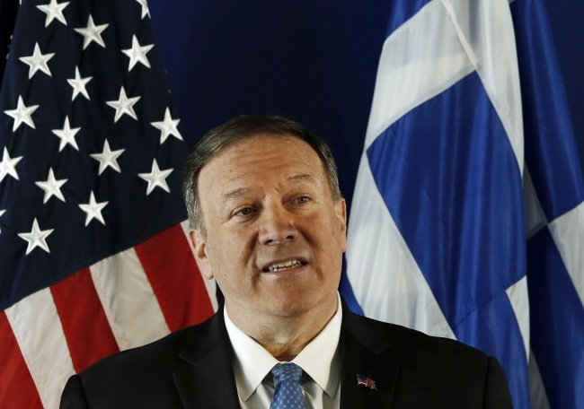 US State Secretary Mike Pompeo delivers his speech at the Stavros Niarchos Foundation Cultural Centre (SNFCC), in Athens, Greece, October 5, 2019. [File Photo: IC/EPA/YANNIS KOLESIDIS]