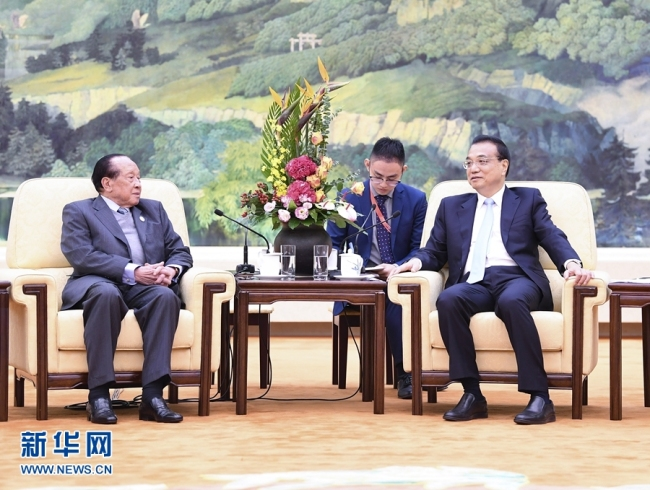 Chinese Premier Li Keqiang meets with Cambodian Deputy Prime Minister Hor Namhong in Beijing, on Wednesday, October 09, 2019. [Photo: Xinhua]