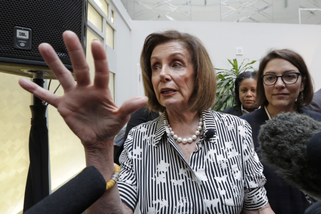 Speaker of the House Nancy Pelosi, D-Calif., left, speaks with media members with Rep. Suzan DelBene, D-Wash., after they spoke about lowering the cost of prescription drug prices Tuesday, Oct. 8, 2019, at Harborview Medical Center in Seattle. [Photo: AP/Elaine Thompson]