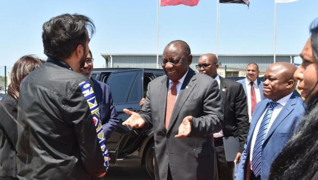 President Cyril Ramaphosa has officially launched SA's first smart phone manufacturing plant in Durban.[Photo: twitter@GovernmentZA]