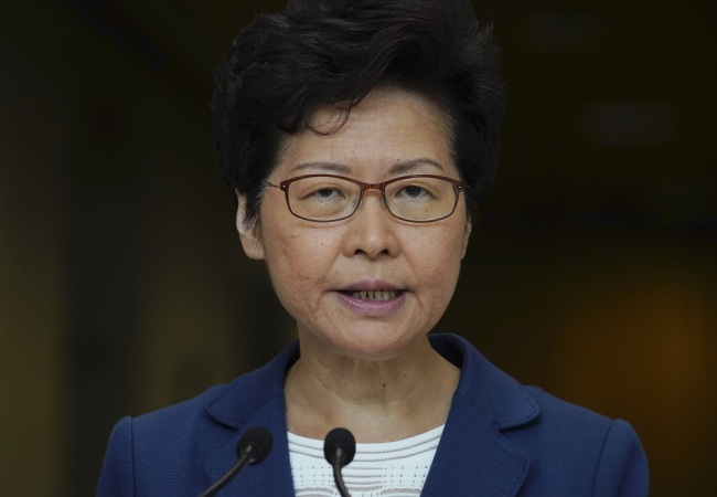 Hong Kong Chief Executive Carrie Lam speaks during a press conference in Hong Kong. [File Photo: IC/AP]