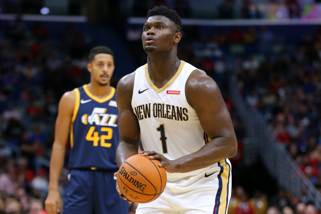 Zion Williamson #1 of the New Orleans Pelicans in action during a game against the Utah Jazz at the Smoothie King Center on October 11, 2019 in New Orleans, Louisiana. [Photo: Jonathan Bachman/Getty Images via VCG]