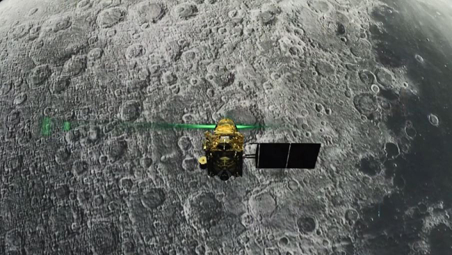 This screen grab taken from a live webcast by Indian Space Research Organisation (ISRO) on August 6, 2019 shows Vikram Lander before it is supposed to land on the Moon. [File Photo: VCG]
